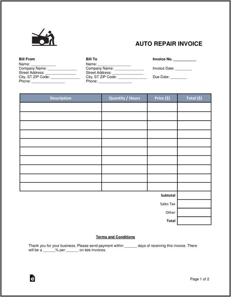 Car Repair Invoice Template Word