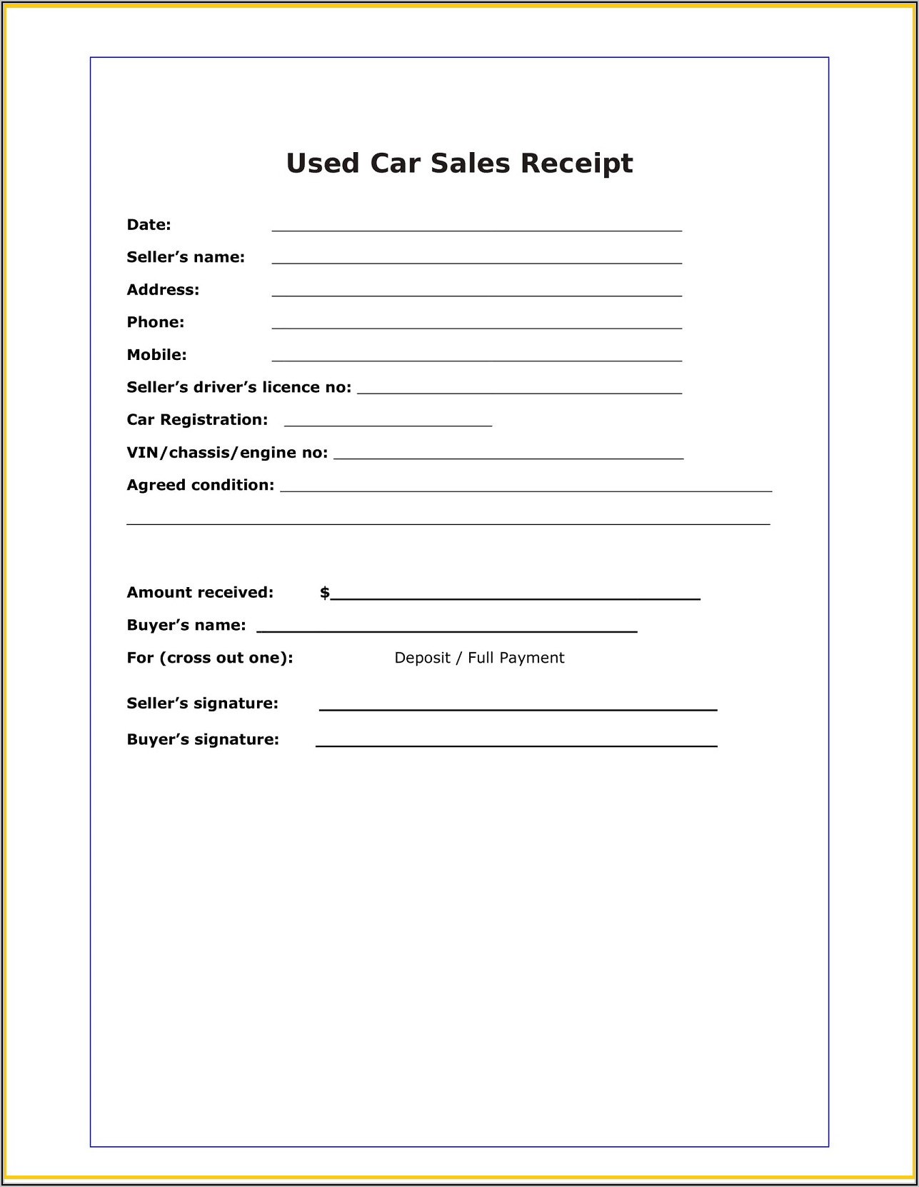 Car Sales Receipt Sample