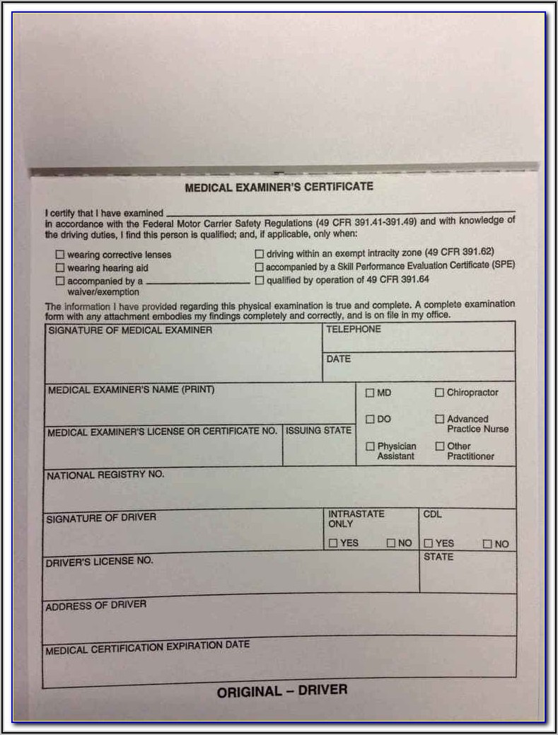 Cdl Dot Physical Form