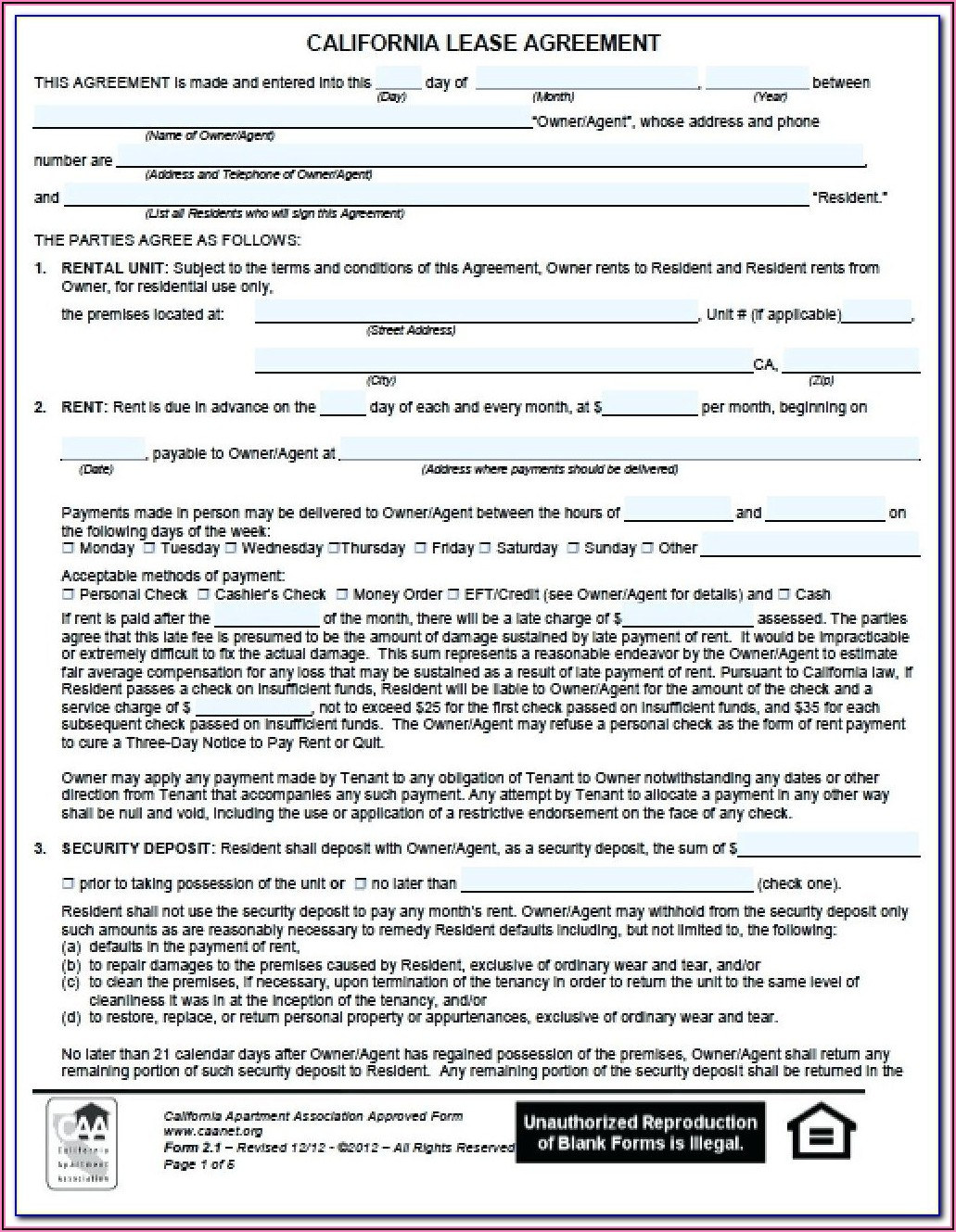 Chicago Residential Lease Form Free