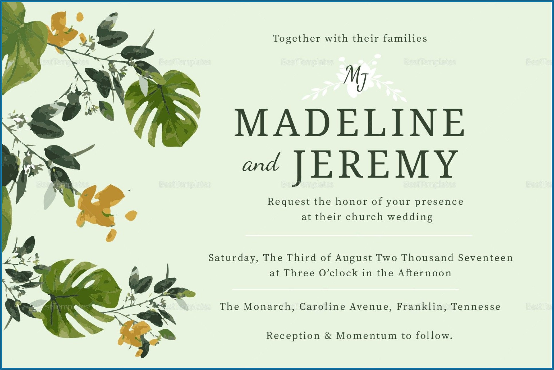 Church Wedding Invitation Templates