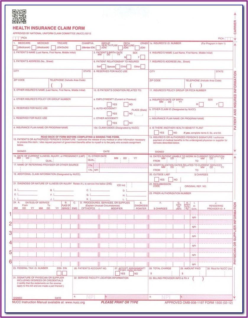 Cms 1500 Health Insurance Claim Form Manual