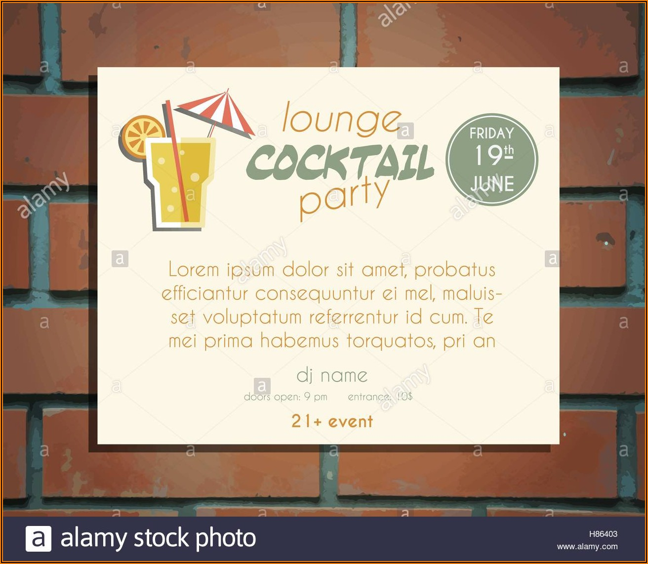 Cocktail Party Invitation Template Vector