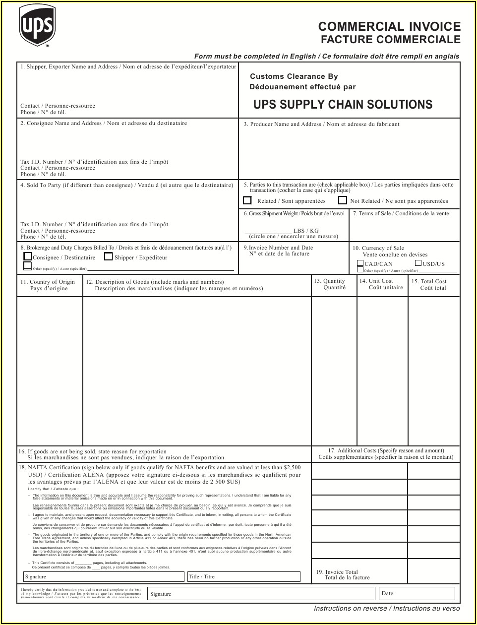 Commercial Invoice Fillable Pdf Ups