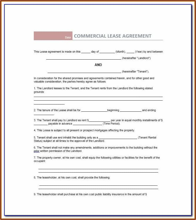 Commercial Property Lease Agreement Template Uk