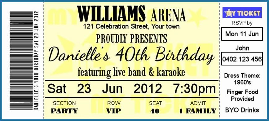 Concert Ticket Invitation Template Free
