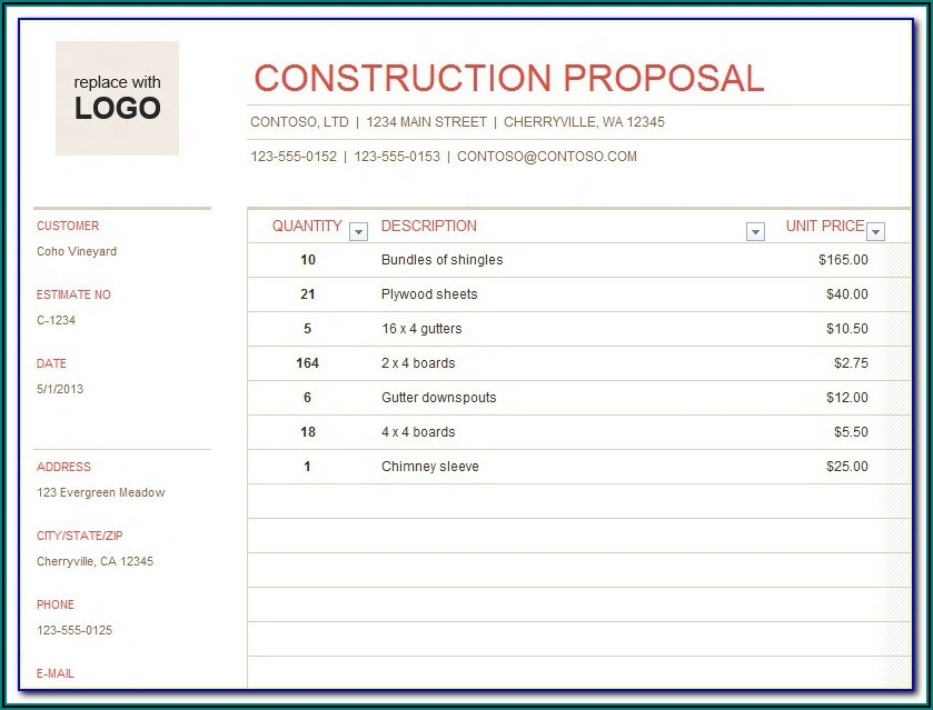 Construction Quote Template Free Word