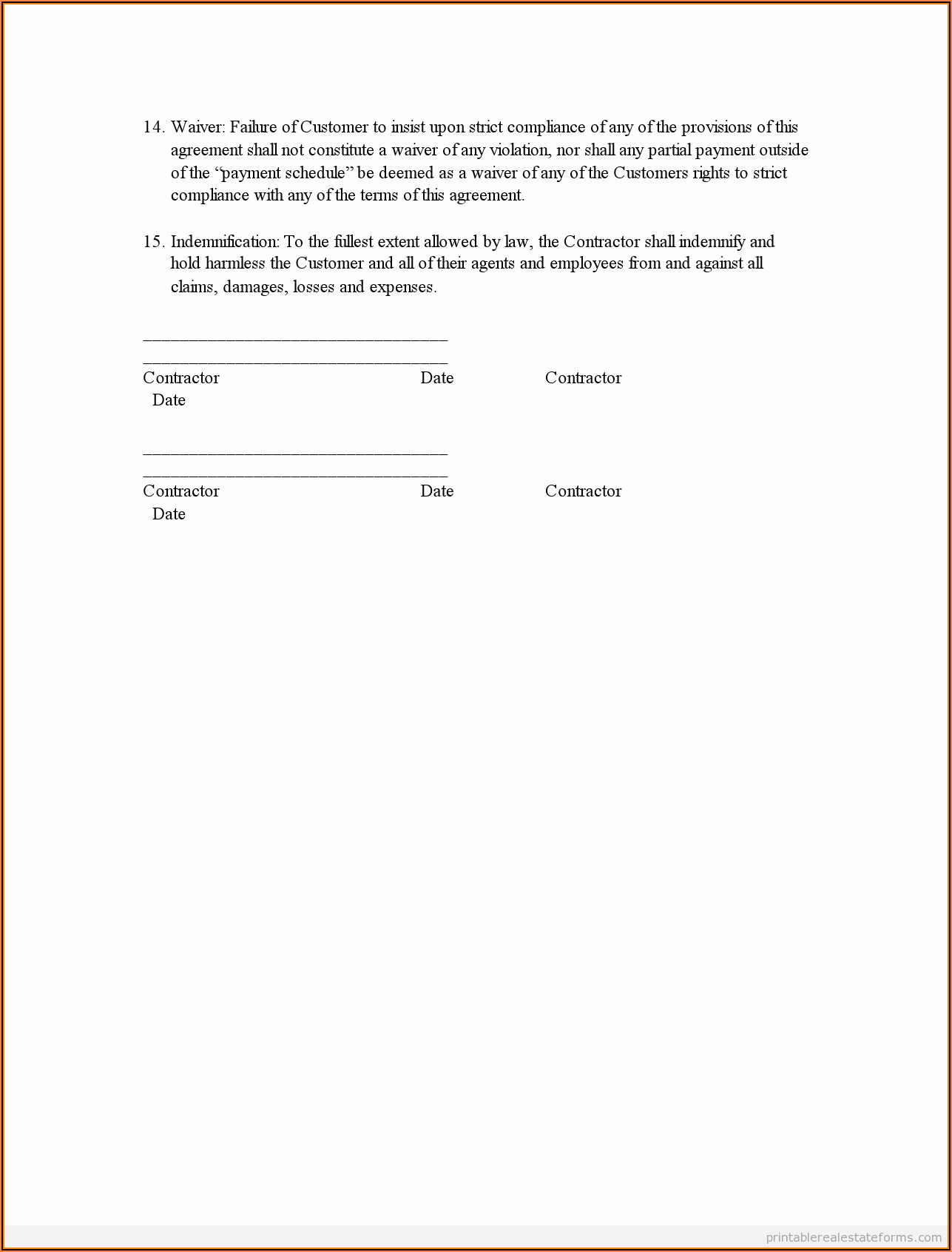 Contractor Agreement Sample Word