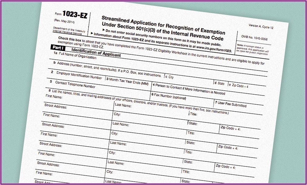 Copy Of Irs 501(c)3 Form