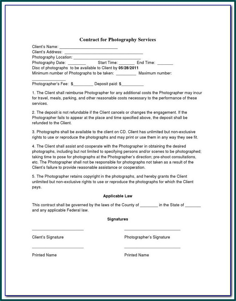 Corporate Event Photography Contract Template