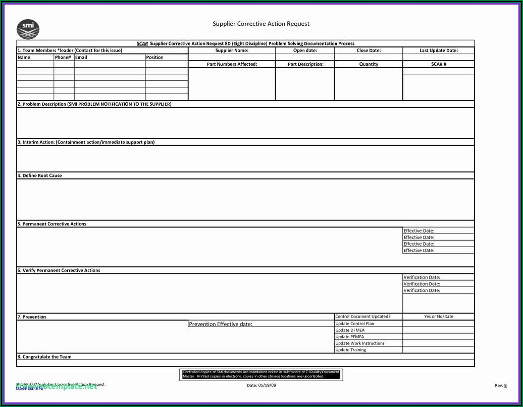 Corrective Action Request Form Iso 9001