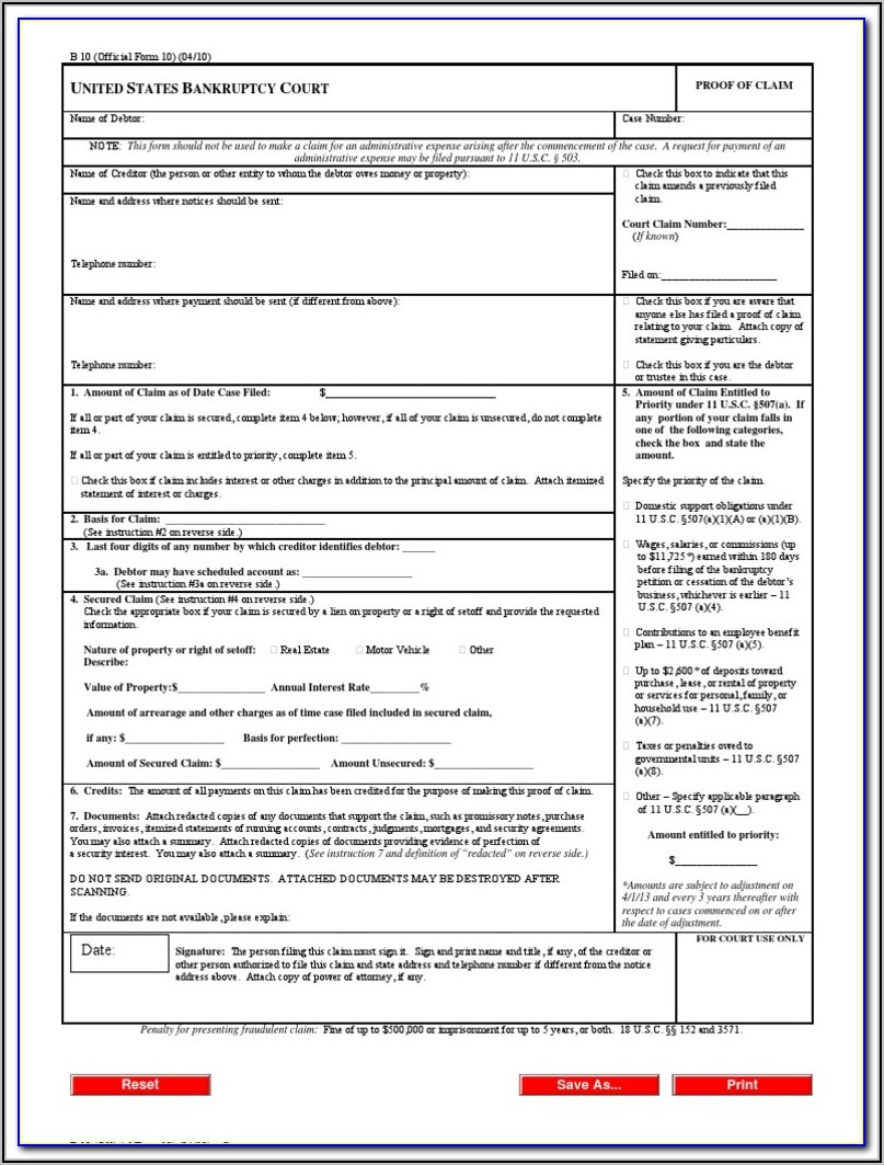 Creditor's Claim Form California