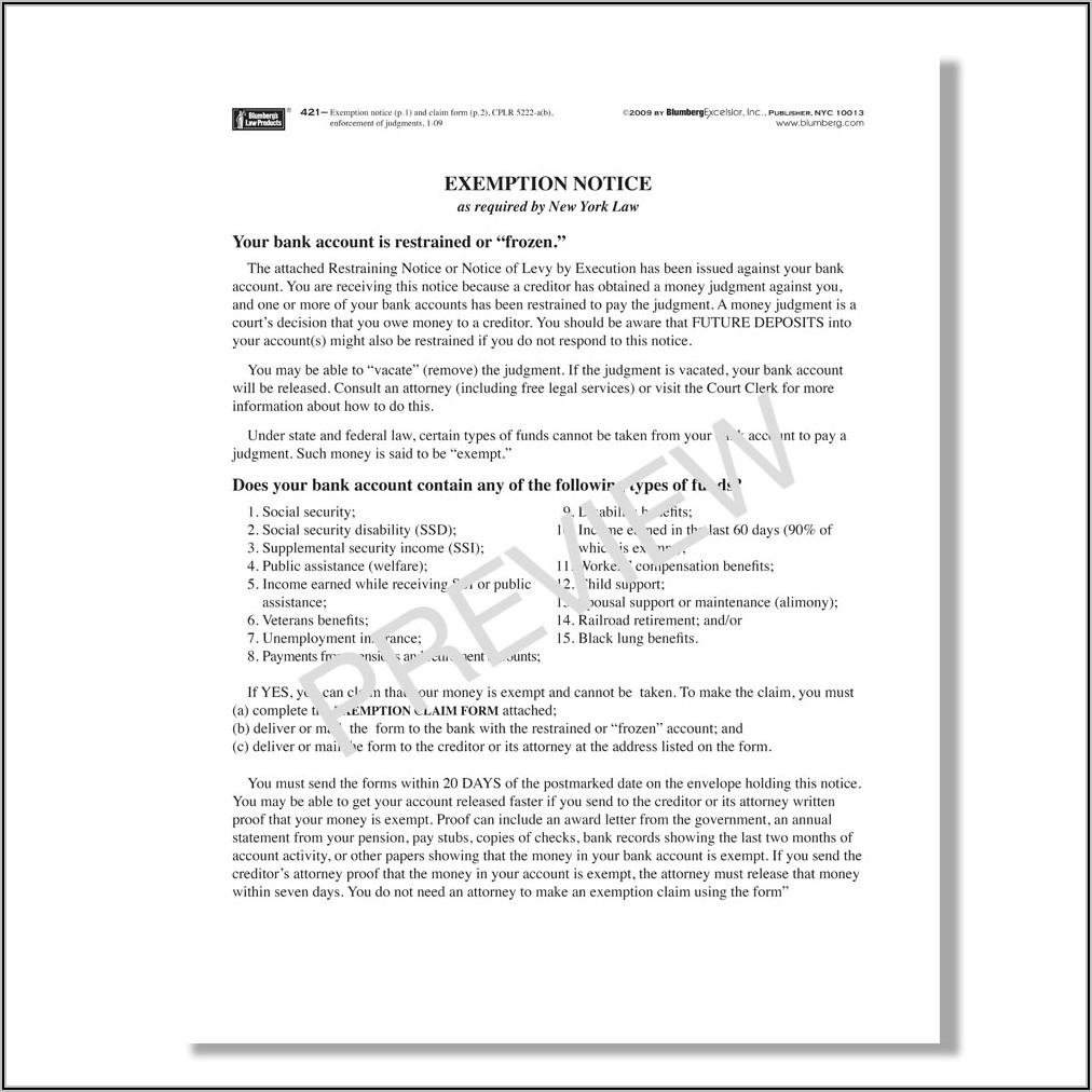 Creditor's Claim Form New York