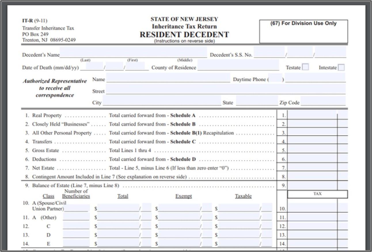 Creditor's Claim Form Nj
