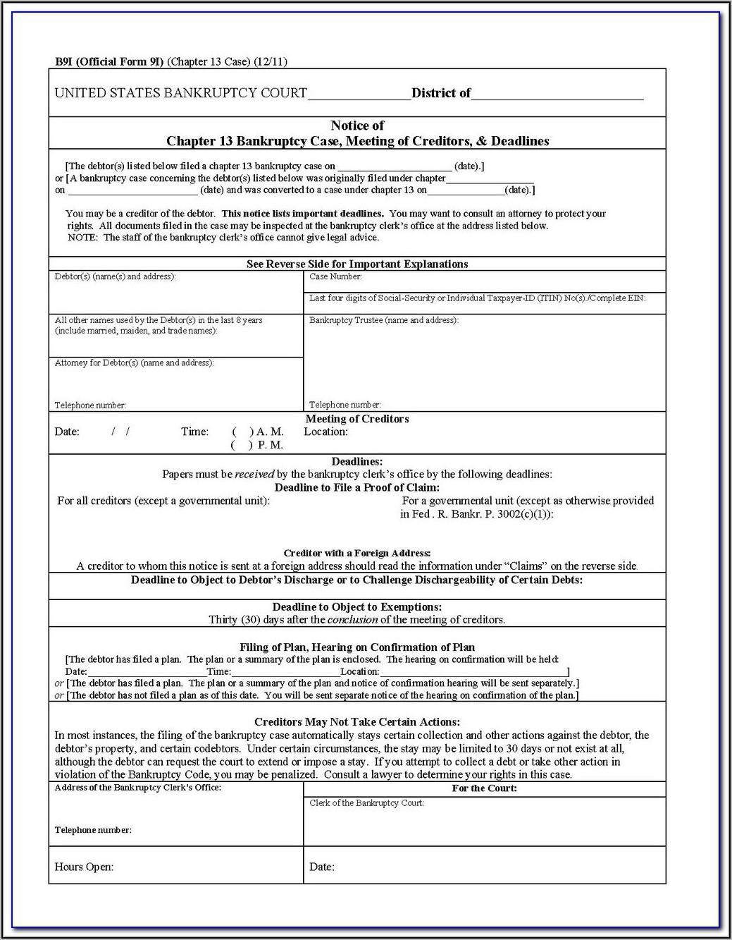 Creditor's Claim Form Washington State