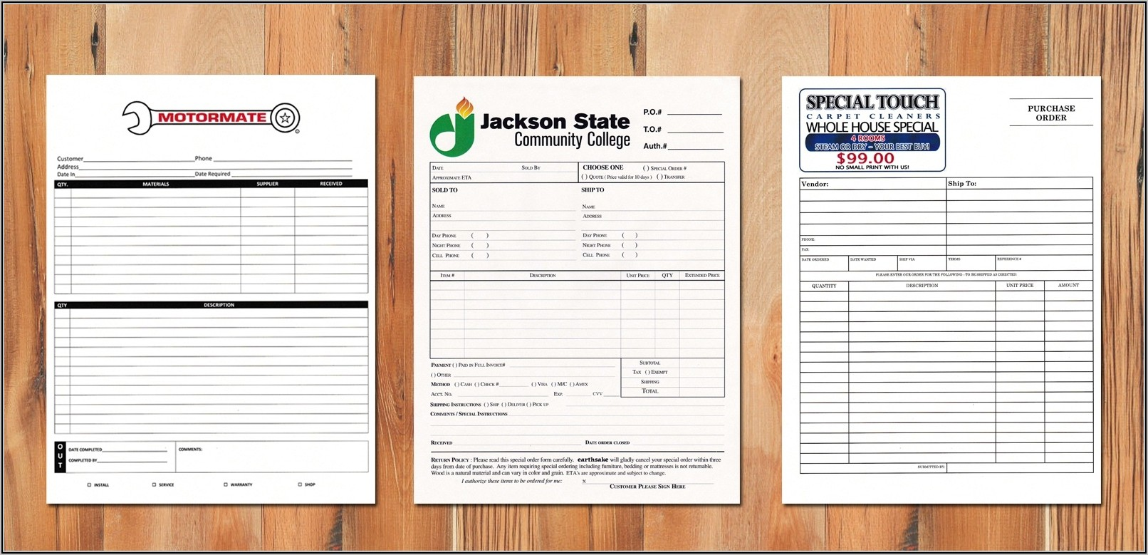 Custom Carbon Copy Invoices