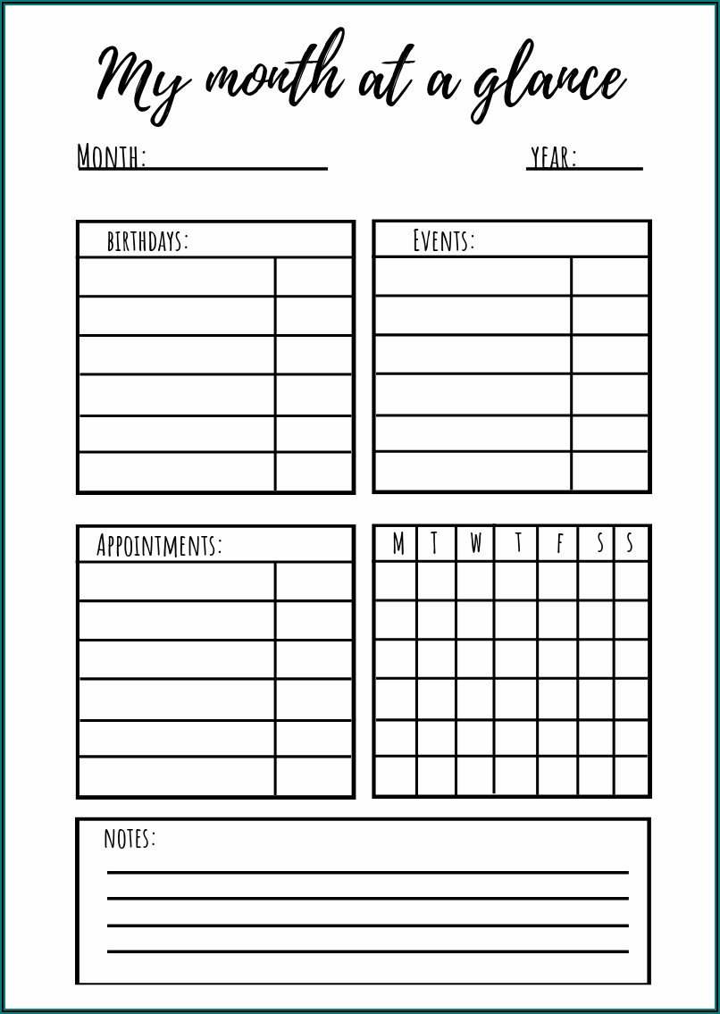 Daily Weekly Monthly Planner Printable