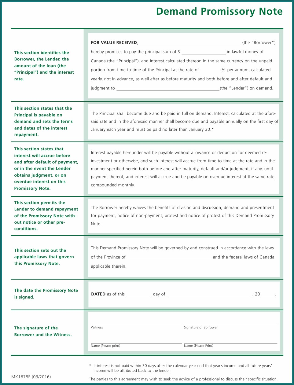 Demand Promissory Note Template Canada