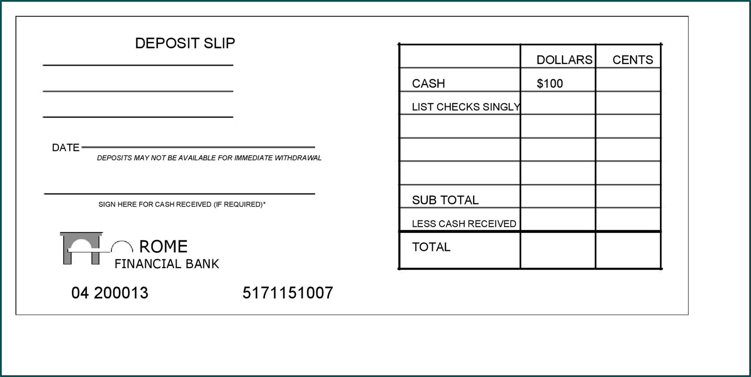 Deposit Slip Excel Template