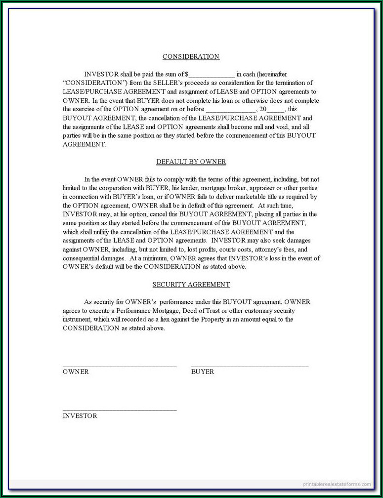 Divorce Buyout Agreement Form