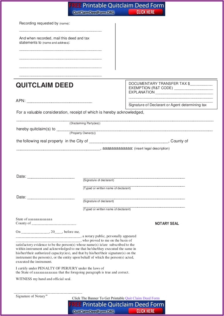 Download Blank Quit Claim Deed Form