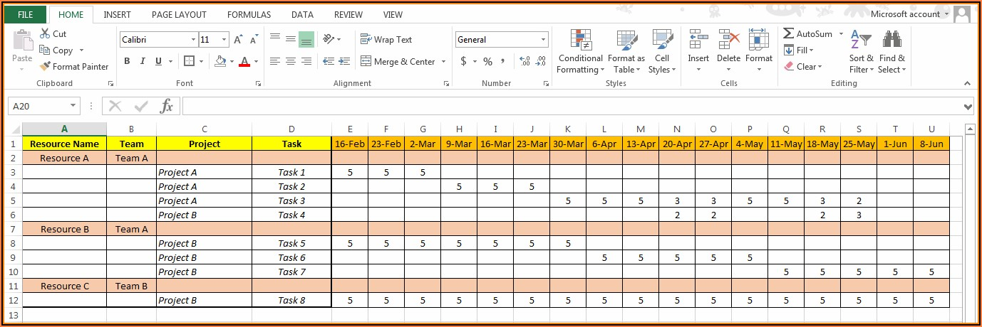 Downloadable Free Excel Employee Capacity Planning Template
