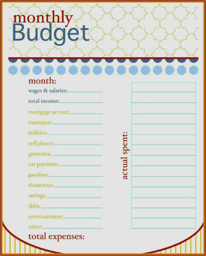 Downloadable Free Printable Personal Budget Template