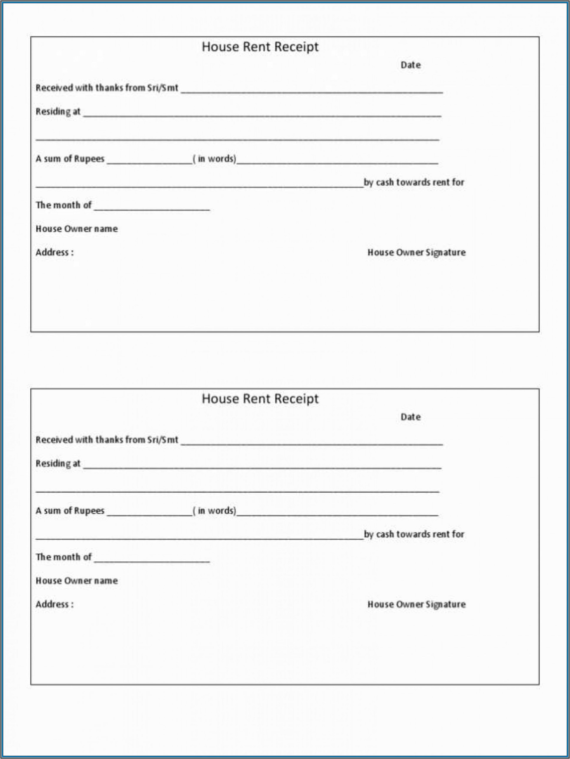 Downloadable House Rent Receipt Template Word Document