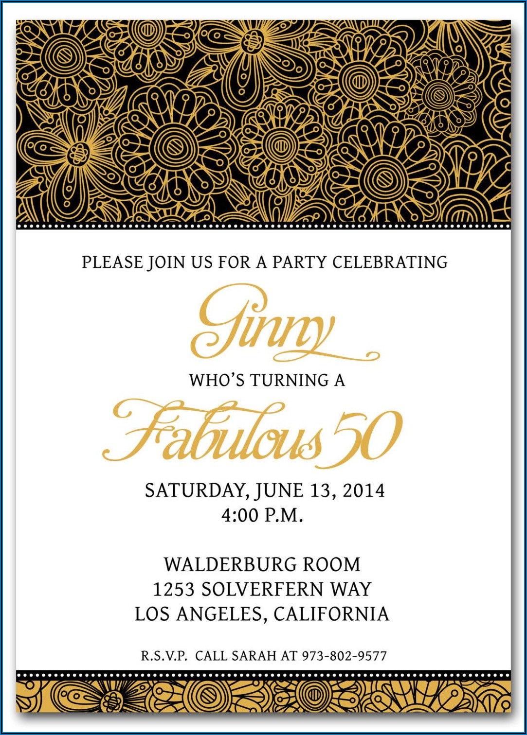 Editable 50th Birthday Invitation Templates Microsoft Word