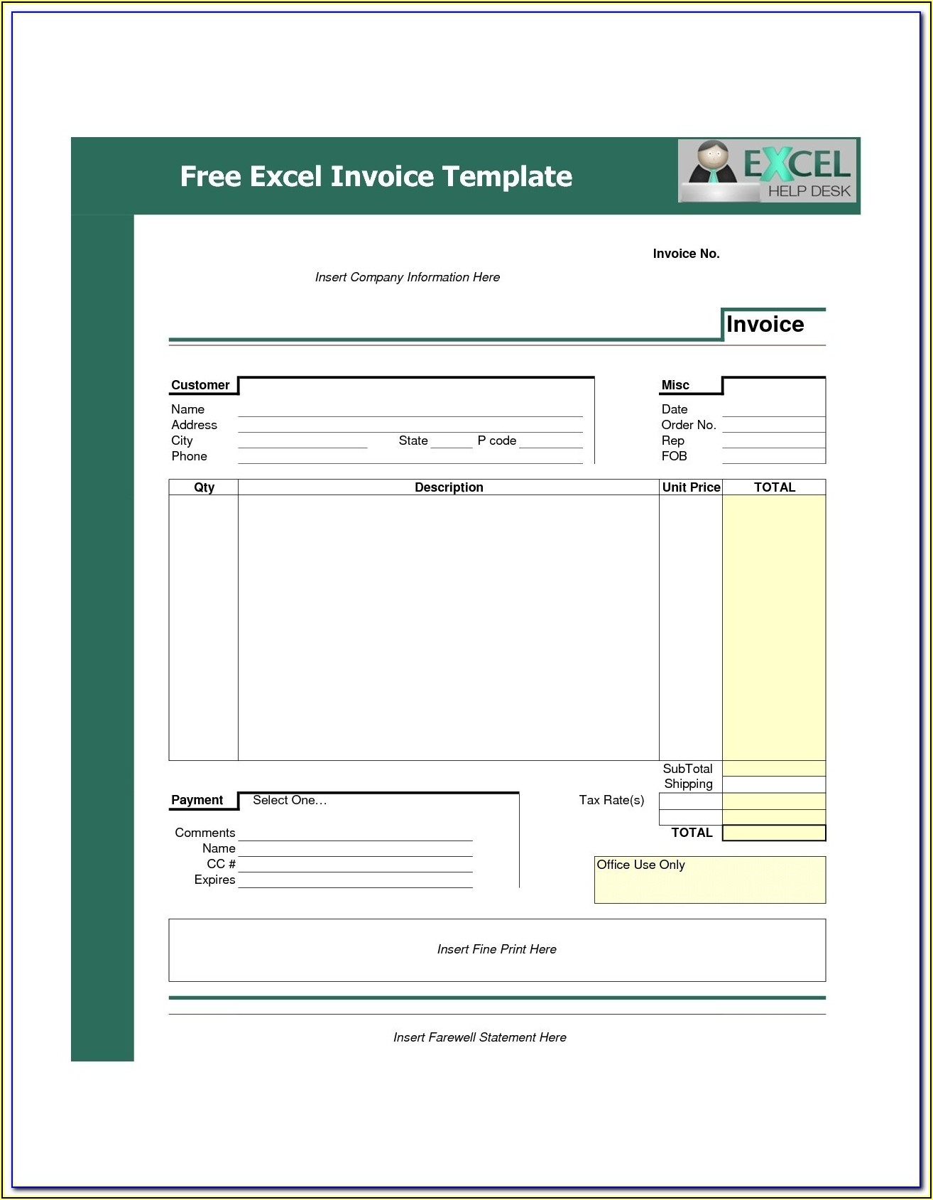 Editable Invoice Template Word
