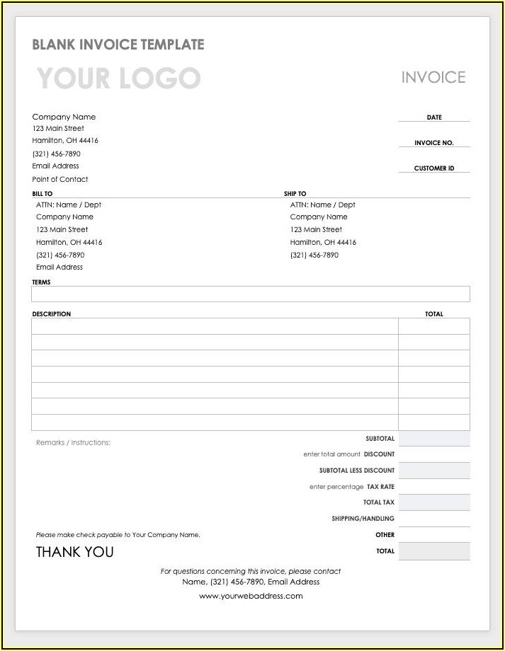 Editable Word Document Invoice Template Word