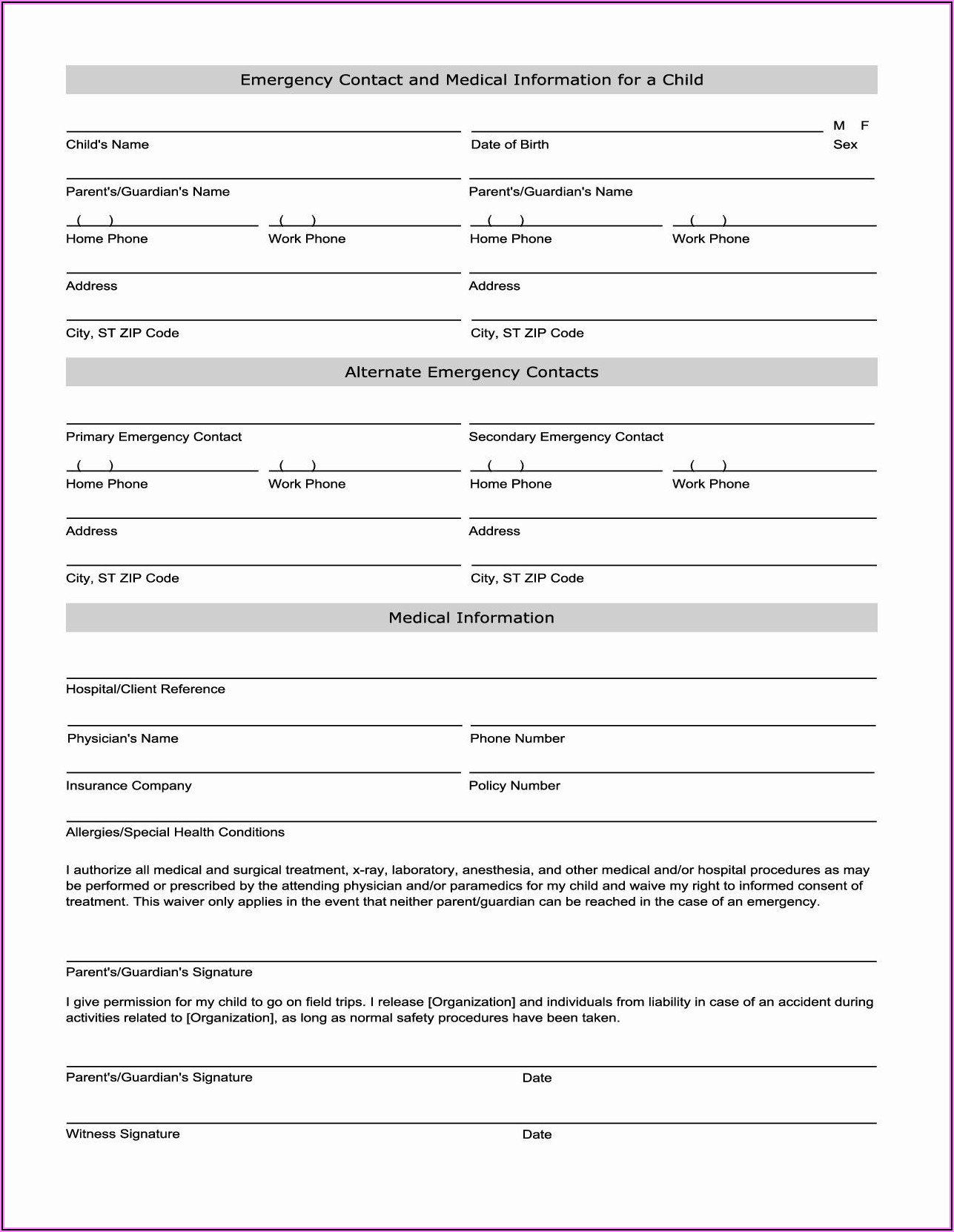 Emergency Contact And Medical Information Form Template