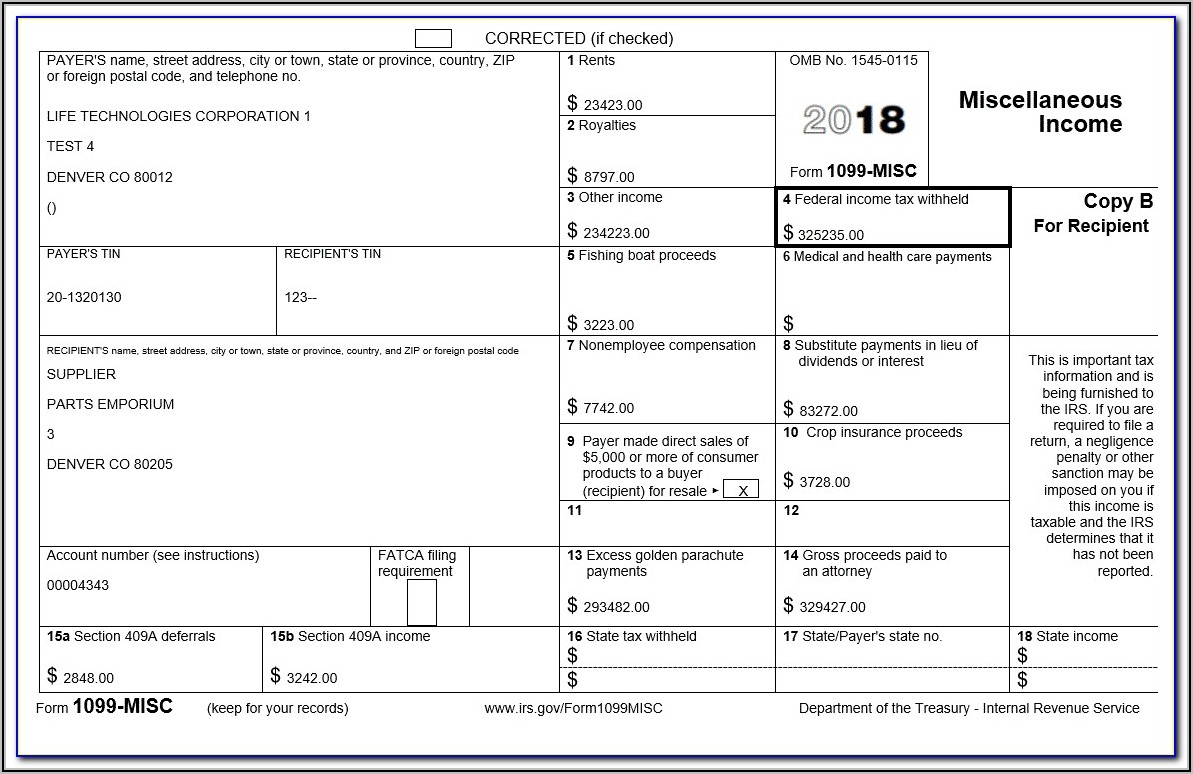 Example 1099 Misc Form Filled Out