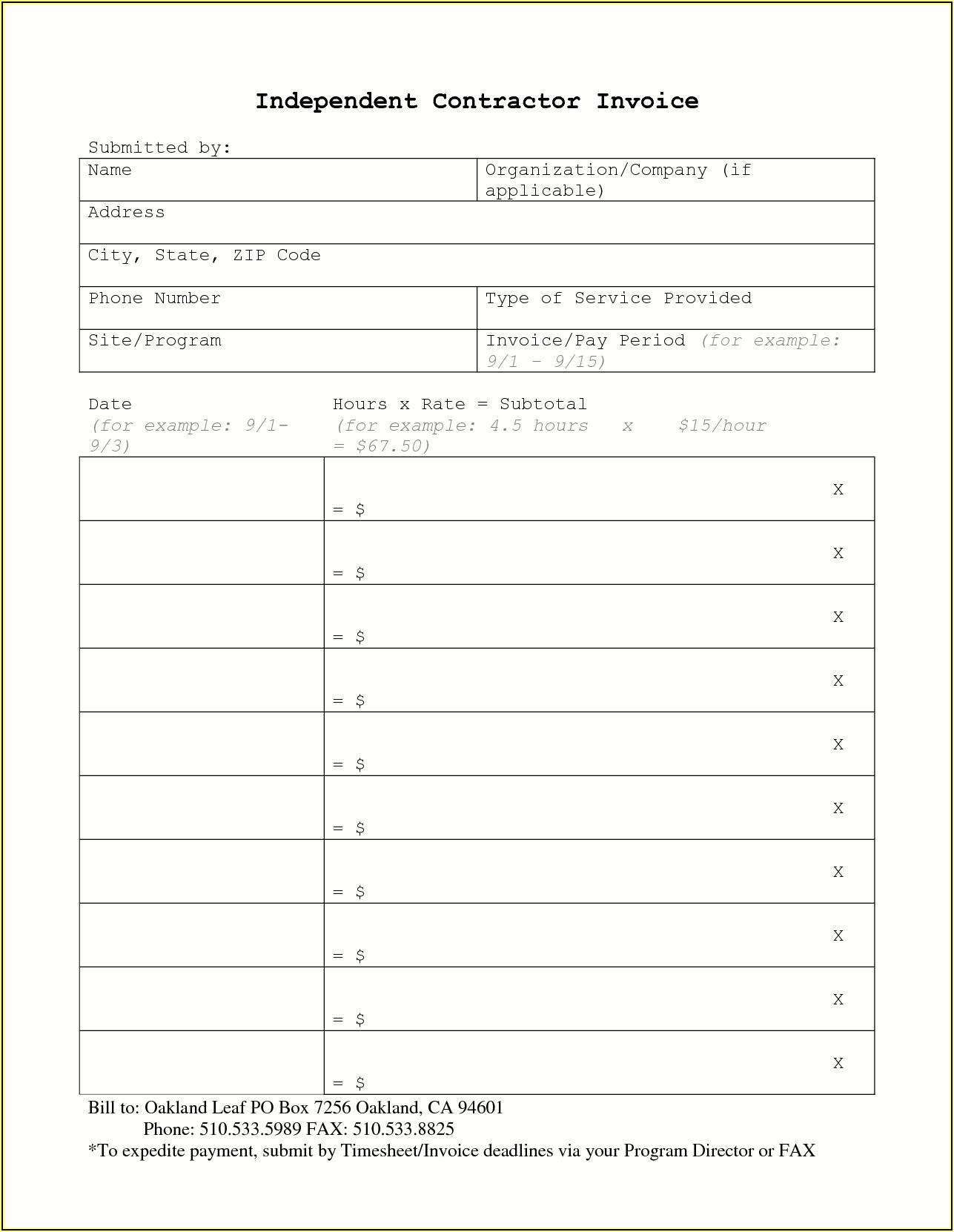 Example Invoice Independent Contractor