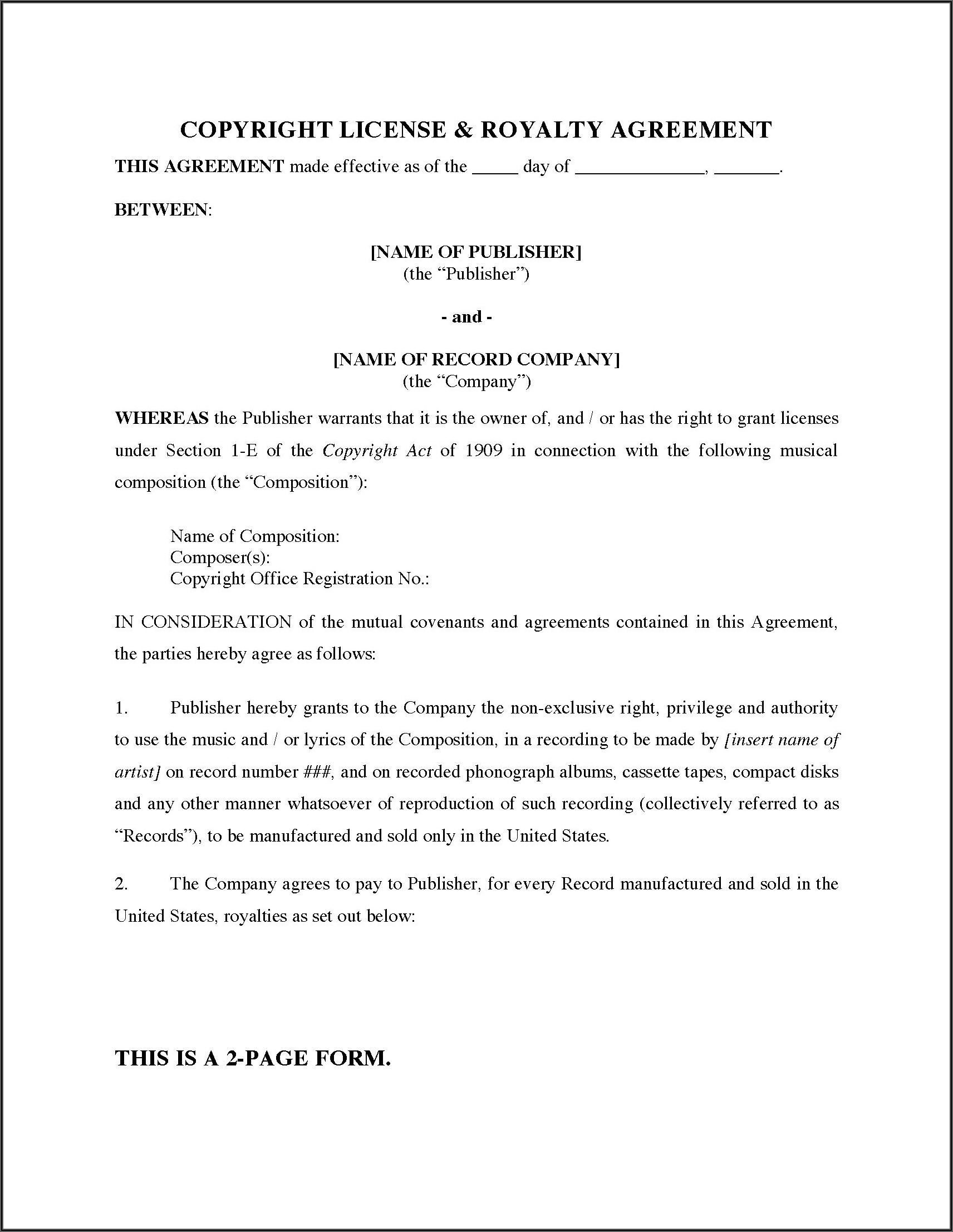 Exclusive Music License Agreement Template