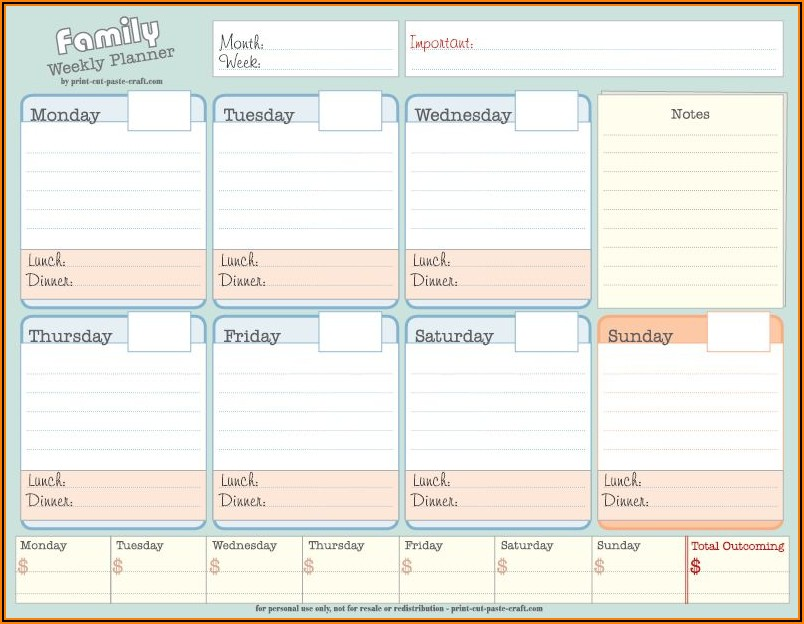 Family Picture Calendar Template