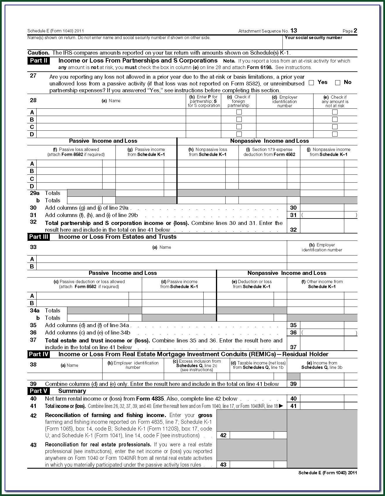 Federal Tax Form 1040a