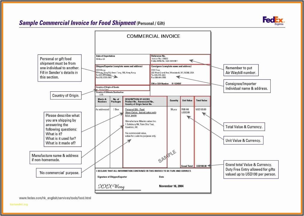 Fedex Proforma Invoice Sample