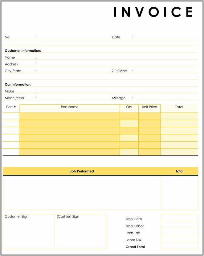 Fillable Car Repair Invoice