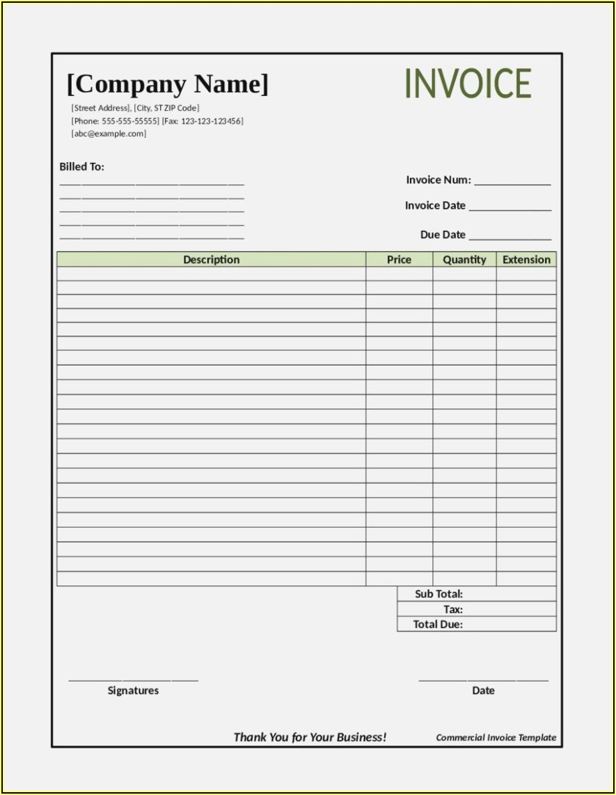Fillable Pdf Invoice Sample