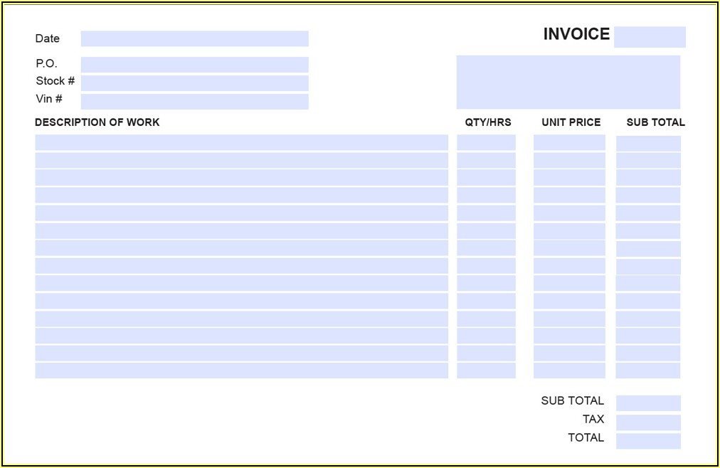 Fillable Pdf Invoice Template