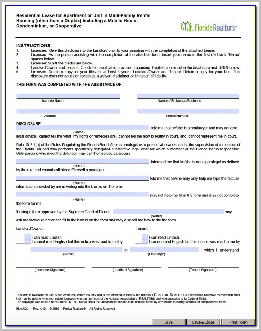 Florida Lease Form Free