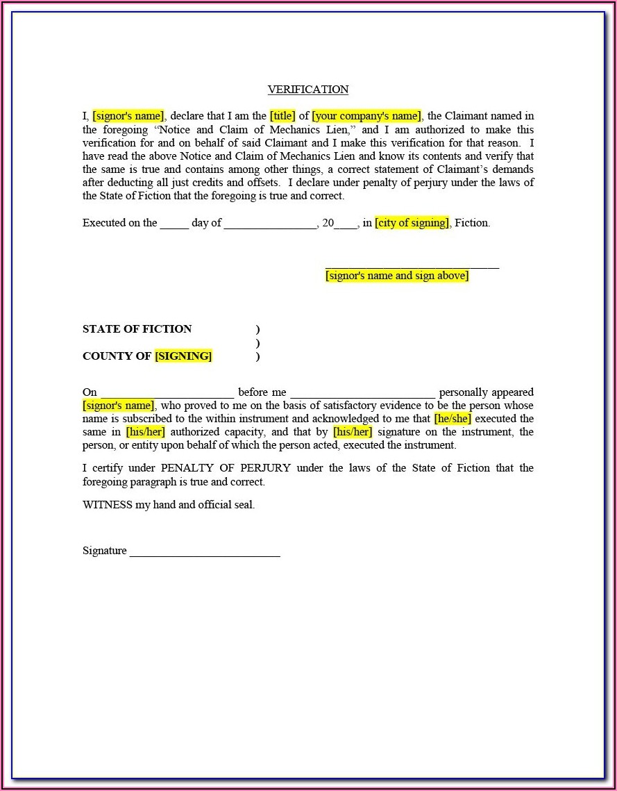 Florida Mechanics Lien Release Form