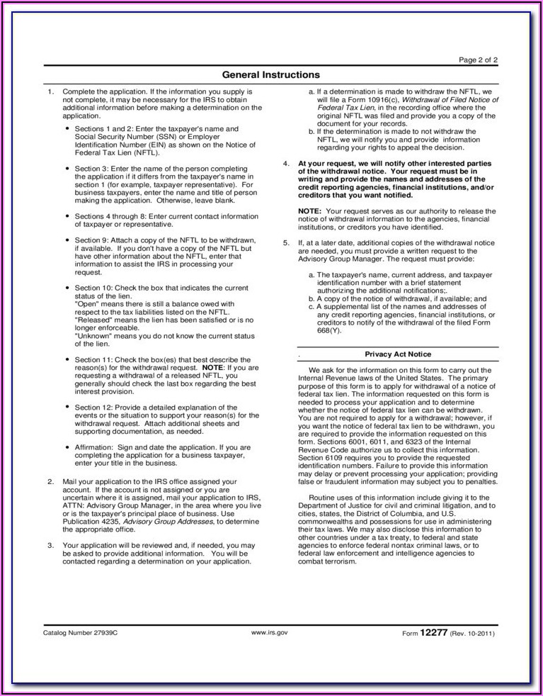 Form 668 Notice Of Federal Tax Lien