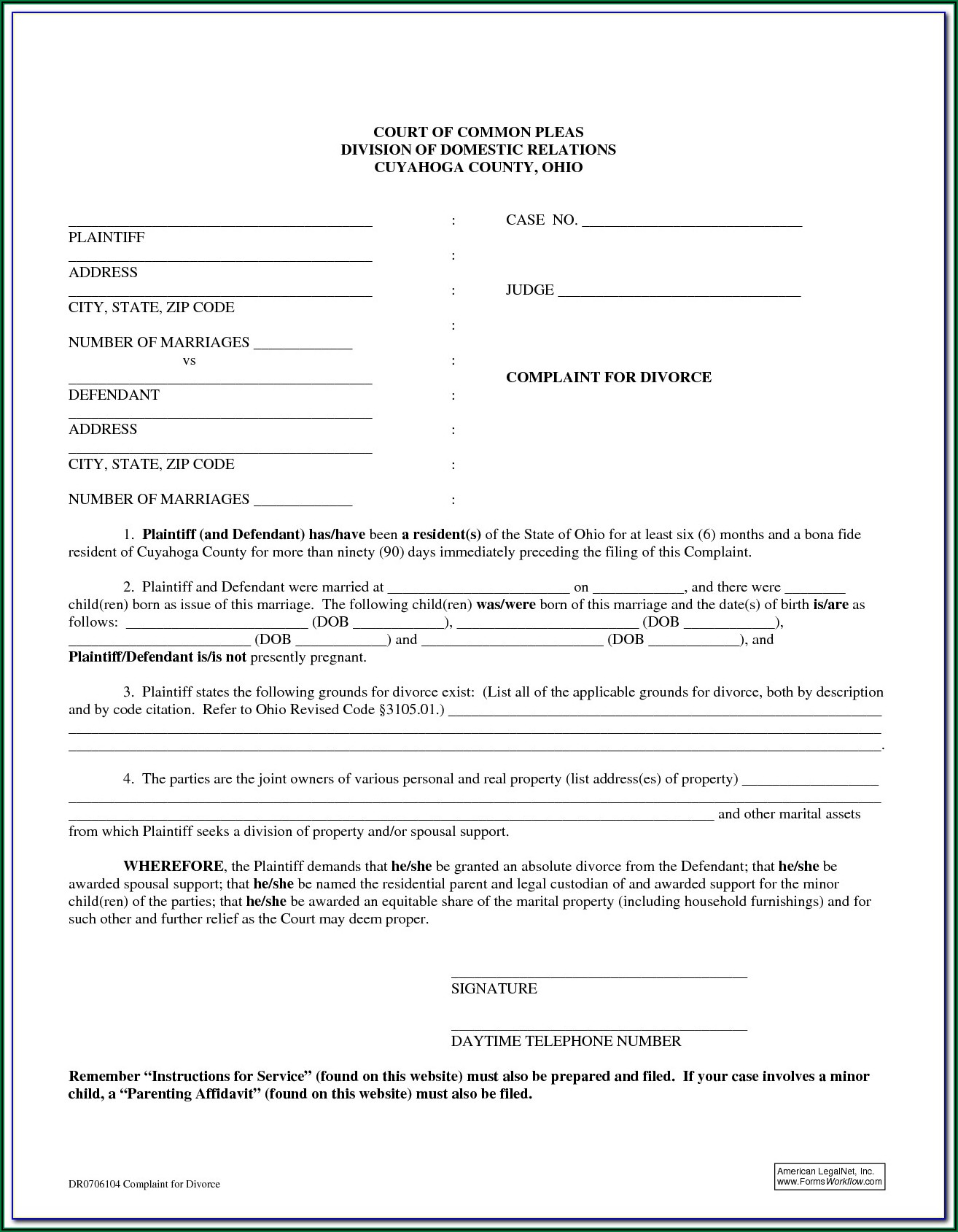 Franklin County Ohio Divorce Forms