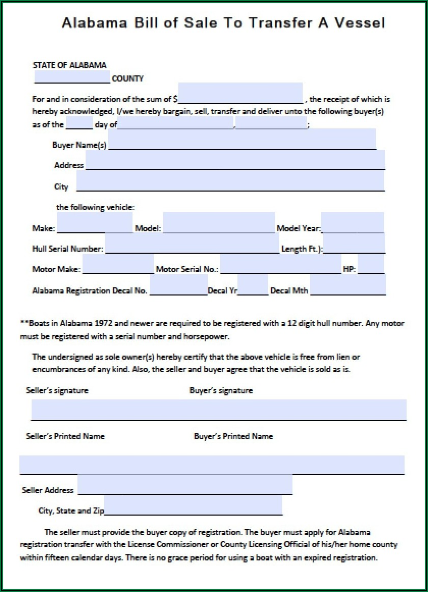 Free Alabama Boat Bill Of Sale Form