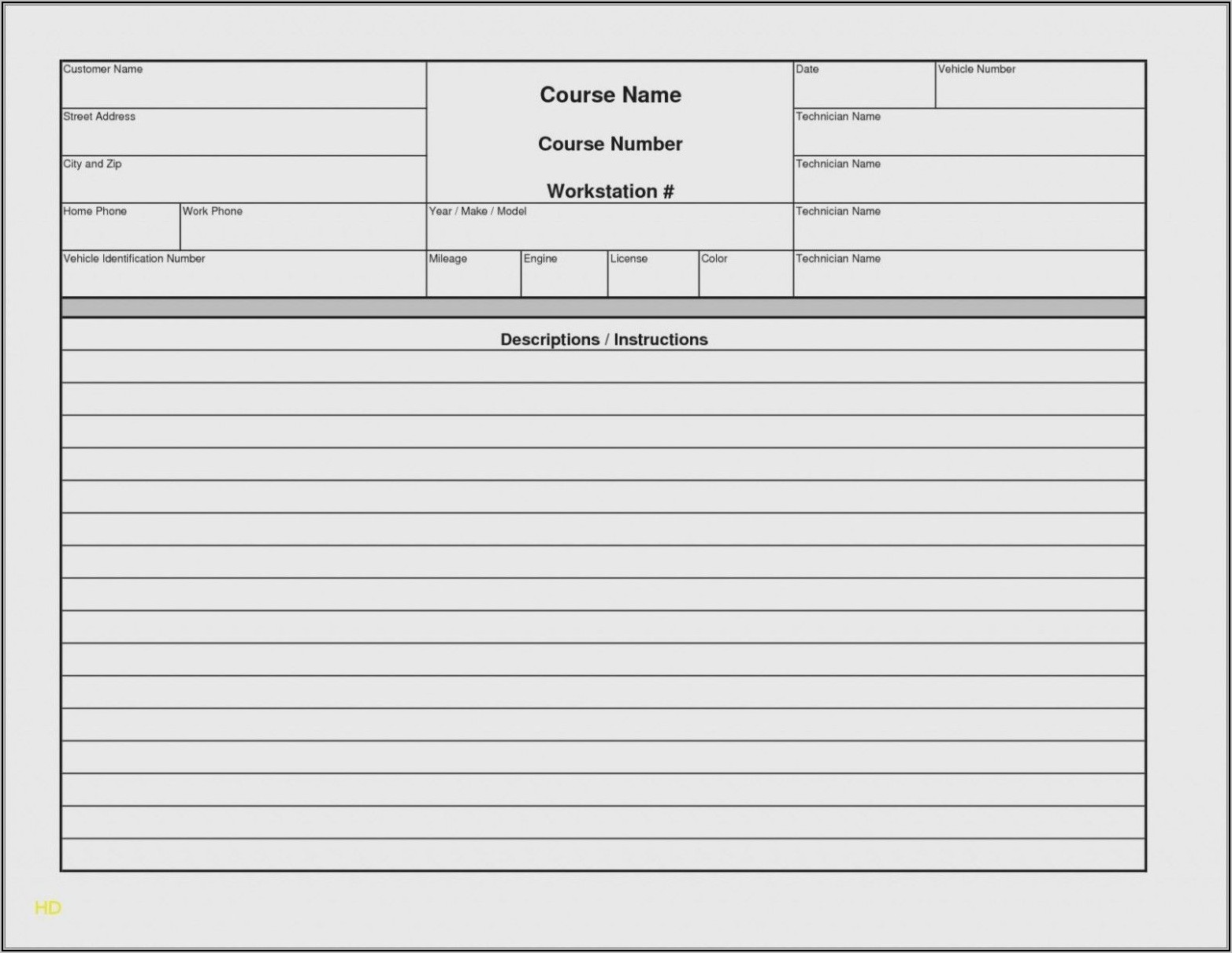 Free Automotive Repair Invoice Template