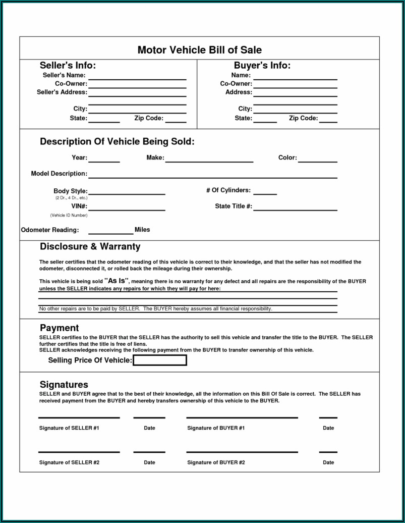 Free Bill Of Sale Template For Car Pdf