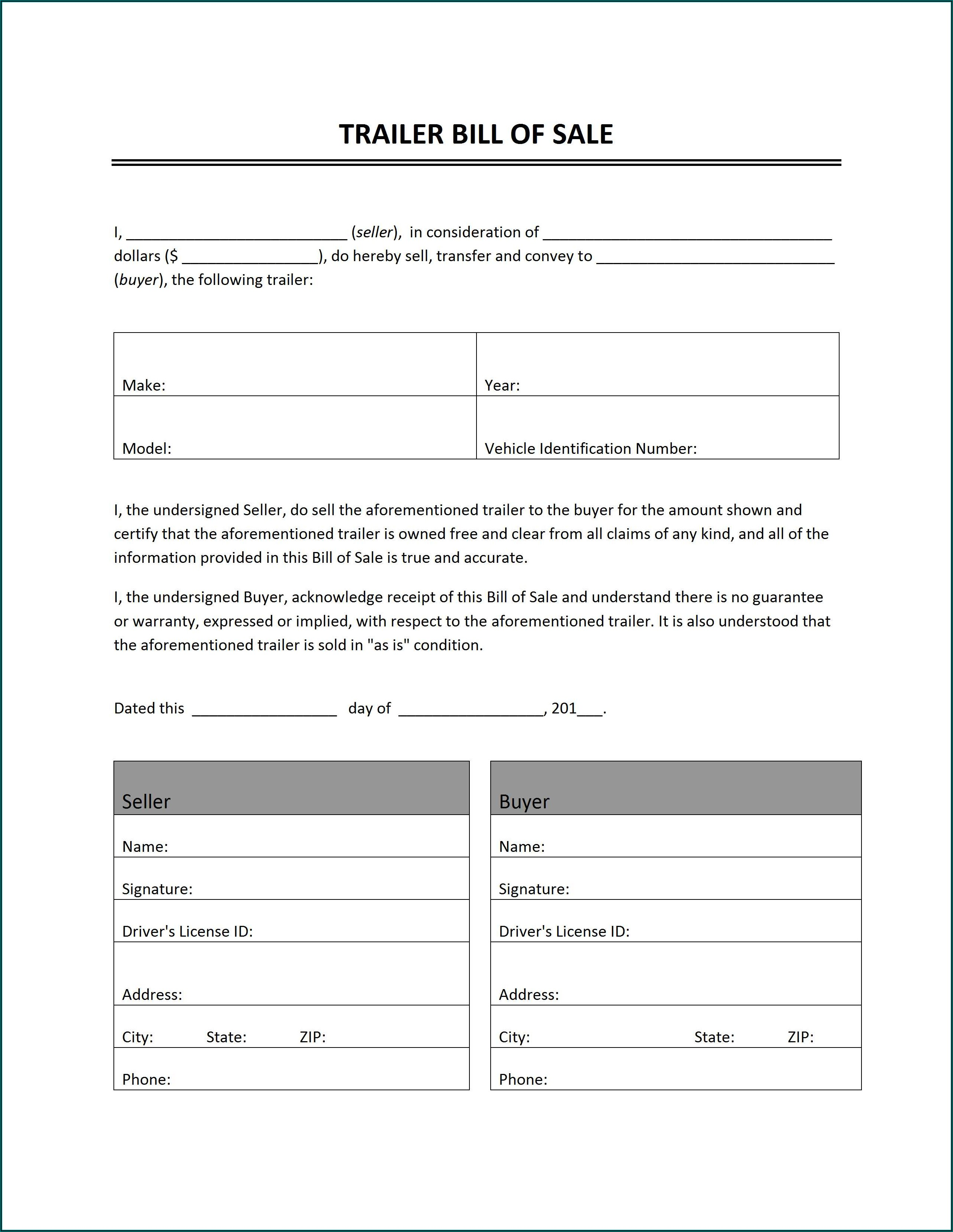 Free Bill Of Sale Template For Vehicle