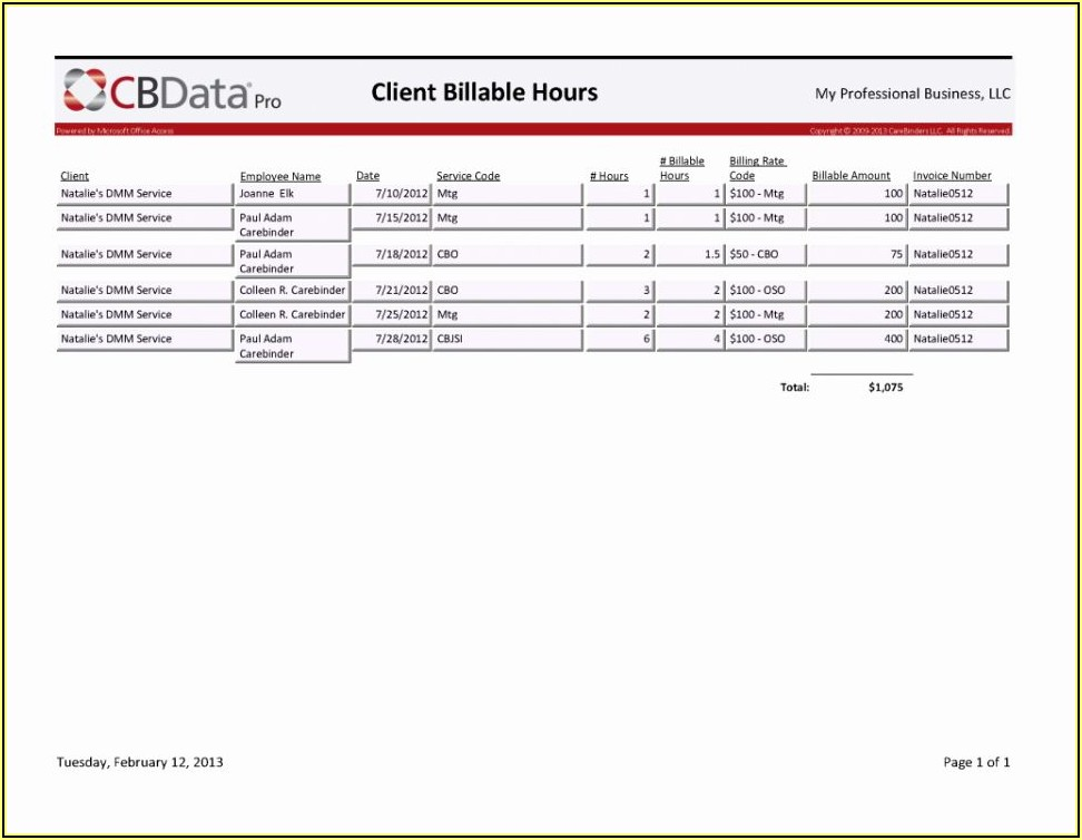 Free Billable Hours Invoice Template
